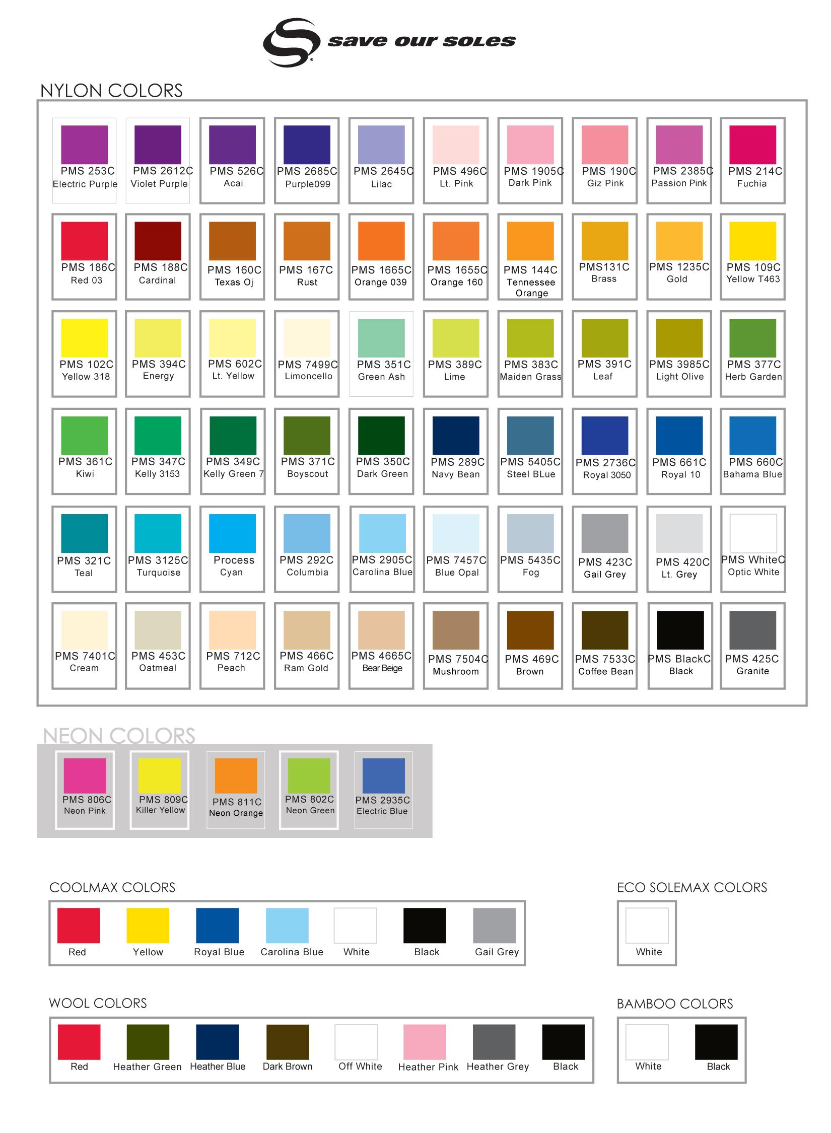 Sock Color Chart